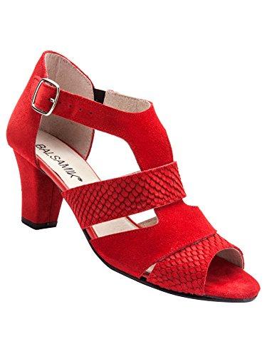 Balsamik Sandales en Croûte de Cuir - Femme - Taille : 36 - Couleur : Rouge