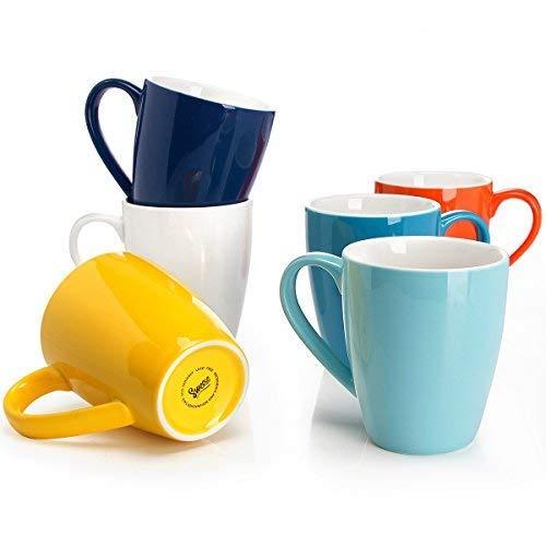 Sweese 6202 Porcelain Mugs - 16 Ounce for Coffee, Tea, Cocoa, Set of 6, Hot Assorted -