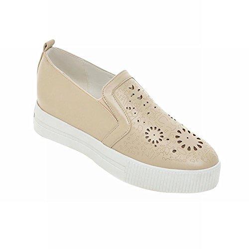 Latasa Womens Fashion Slip on Loafers Shoes, Platform Shoes Apricot