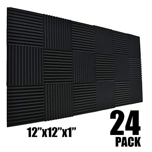 "24 Pack Black 1"" X 12"" X 12"" Acoustic Wedge Studio Foam Sound Absorption Wall Panels (24Pack-Black)"