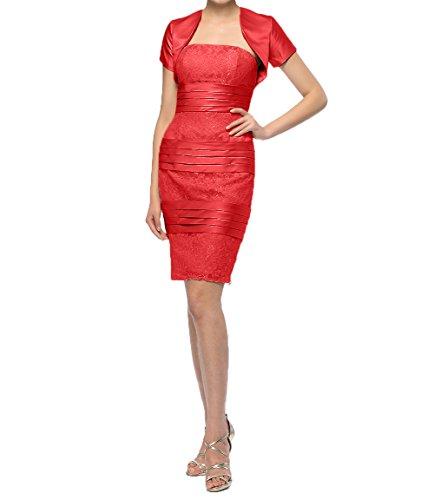 Festlichkleider Brautmutterkleider Rosa mit Kurzes Abendkleider Knielang Charmant Jaket Kurzarm Rot Damen XqPx0UY