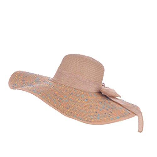 Osave Womens Plus Size Sun Hat Womens Big Bowknot Foldable Straw Hat (One size, Dot Khaki)