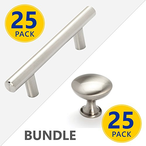 - Stainless Steel T Bar Pull Handles and Mushroom Style Knobs | Brushed Satin Nickel Kitchen Cabinet Door/Drawer Hardware (5