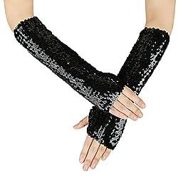 Oversleeves Fingerless Black Sequin Gloves