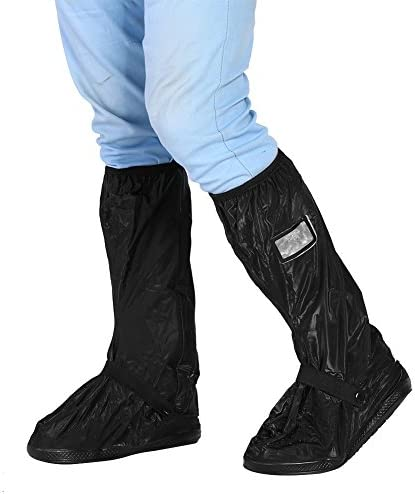 KIMISS PVC材質 シューズカバー ブーツ ノンスリップシューズカバー 雪 雨 梅雨対策 携帯可 防水 男女兼用 通勤 通学 (M-(黒))