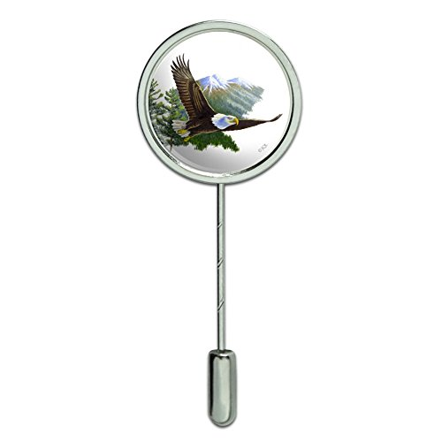 Bald Eagle Flying Over the Mountains Scenic Stick Pin Stickpin Hat Brooch