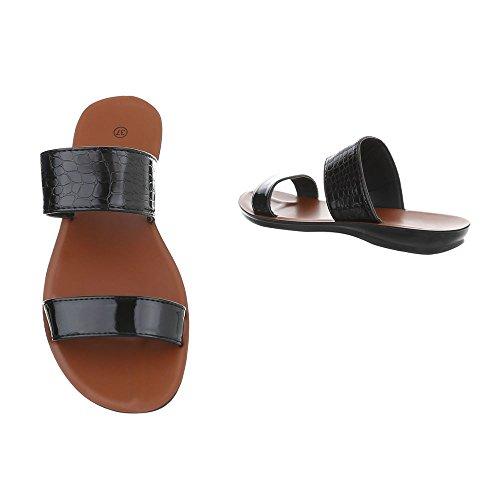 Ital-Design Pantoletten Damenschuhe Pantoletten Pantoletten Sandalen & Sandaletten Schwarz