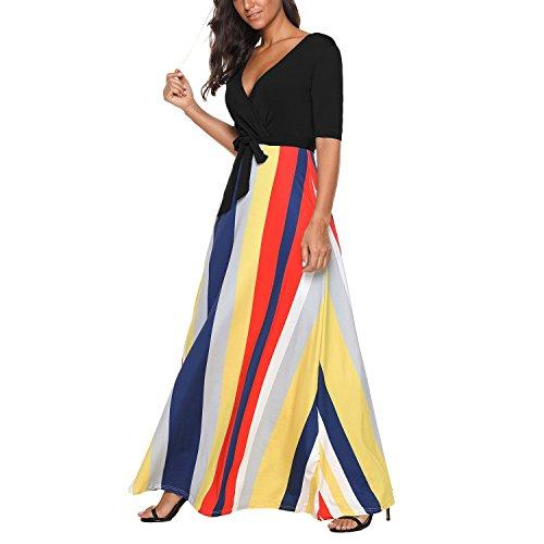 Cresay Cocktail V Length Neck Stripes Evening Sleeve Floor Dress Women Maxi Half Black Dress Tunic r7qvrI
