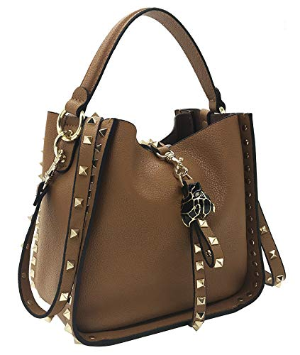 FairyBridal Luxury Rivet Genuine Leather Bucket Crossbody Bags for Women Top-Handle Shoulder Bags Satchel Purse B092703
