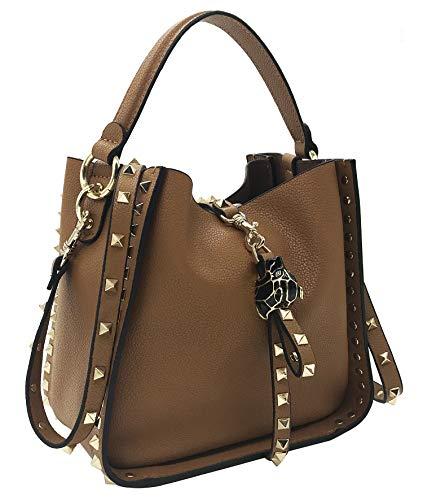 FairyBridal Luxury Rivet Genuine Leather Bucket Crossbody Bags for Women Top-Handle Shoulder Bags Satchel Purse B092703