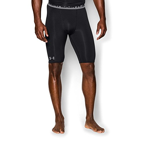 Under Armour Men's HeatGear Armour Compression Shorts - Long, Black (001)/Steel, Medium