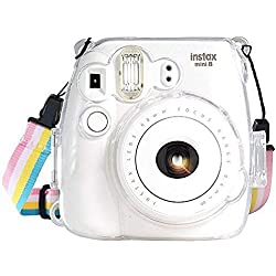 Fujifilm Instax Mini 8 / Mini 8+ / Mini 9 Crystal Case - CAMSIR Crystal Camera Case With Adjustable Rainbow Shoulder Strap for Fujifilm Instax Mini 8 / Mini 8+ / Mini 9 Instant Camera - Transparent