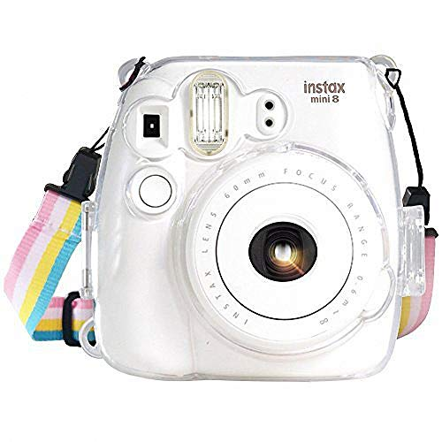 Fujifilm Instax Mini 8 / Mini 8+ / Mini 9 Crystal Case - CAMSIR Crystal Camera Case With Adjustable Rainbow Shoulder Strap for Fujifilm Instax Mini 8 / Mini 8+ / Mini 9 Instant Camera - Transparent ()