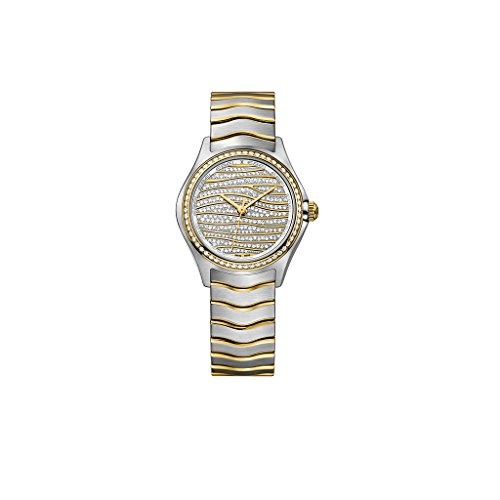 Ebel Wave Diamond Pave Dial Ladies Steel and 18K Yellow Gold Watch 1216285