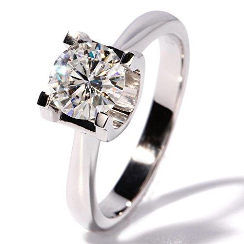 TransGems 1 CT Super White Moissanite Simulated Diamond Elegant Solitare Wedding Engagement Ring 14K Gold by TransGems