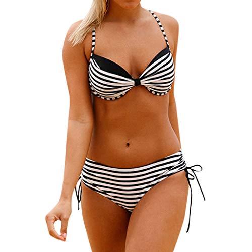 Sexy Swimwear Women Bikini Set Backless Push up Padded Bra Beach Two Piece Swimsuit Bathing Suits (XL, Black)