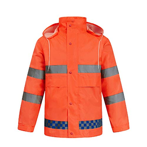 DNSJB Fluorescent Green Crystal Lattice Split Raincoat Set Wholesale Reflective Traffic Duty Electric Car Raincoat Poncho (Color : Orange, Size : XXXXL185) ()