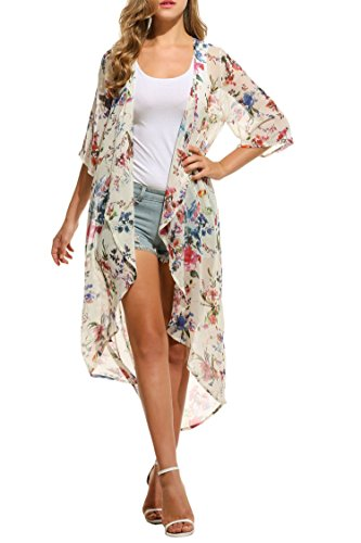 Ekouaer Women's Chiffon Cardigan 3 4 Sleeves Kimono Beach Bikini High Low Long Floral Cover - Summer Long Cardigan