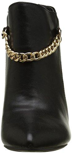 Negro botas de tacón fino de 9cm señaló extremos y cadena decorativa