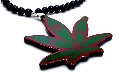 Wooden Cannabis Marijuana Weed Leaf Pendant Beads Chain Multi-Color Necklace (Red and Green)