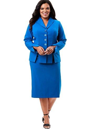 Roamans Womens Pant Suit - Roamans Women's Plus Size Buttoned Skirt Suit - Lapis Blue, 14 W