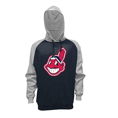 Stitches MLB Cleveland Indians Men's Pullover Hoodie, Medium, Navy/Gray