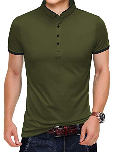YTD Mens Summer Slim Fit Pure Color Short Sleeve Polo Casual T-Shirts (US X-Large, Army Green)