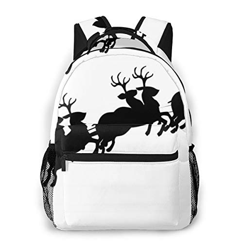 OMNPL Santa Sleigh Silhouette Image Laptop Backpack,School Backpack for Men Women,Lightweight Travel Casual Durable Daily Daypack College Student Rucksack 11.5in X 8in X 16in -