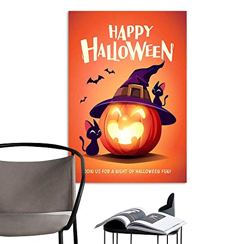 (UHOO Art Print Paintings ModernHappy Halloween Halloween Pumpkin Black Cat and Jack O Lantern Pumpkin with Witch hat 3.jpg Living Room Wall Decor and Home Décor)