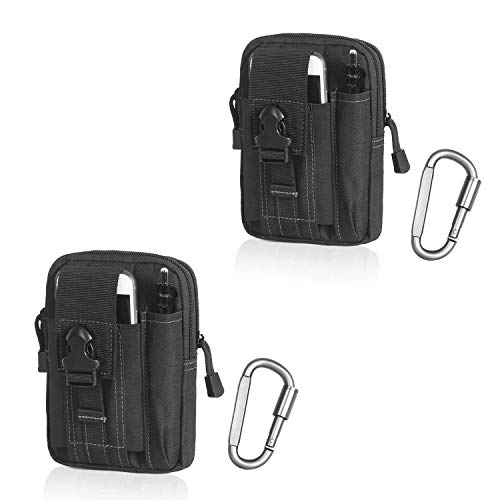 Compact Multipurpose Tactical Molle EDC Utility Gadget Pouch Tools Waist Bag with Cell Phone Holster Holder (Black (White Thread)(2 Pack))