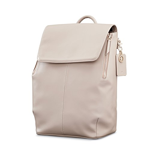 Samsonite Ladies Leather Hamptons Backpack Light Grey by Samsonite
