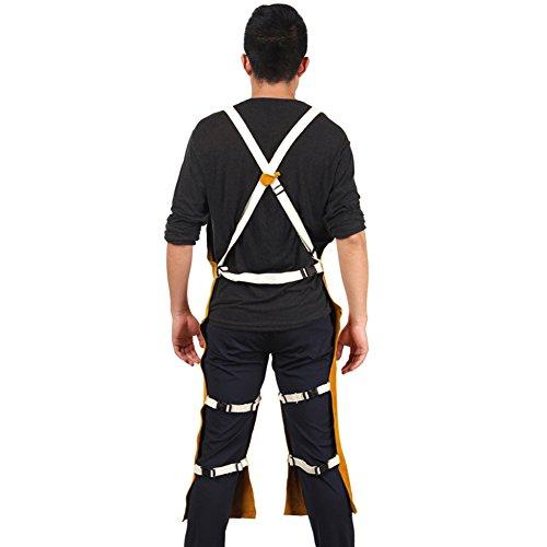 Genuine Cowhide Welding Apron Heavy-Weight Side Split Leg Fire Resistant Wear-resistant Welding Coat Jacket One Size fit Most Men For Workshop, Grinding, Carpentry HJ0001 by TUYU (Image #2)