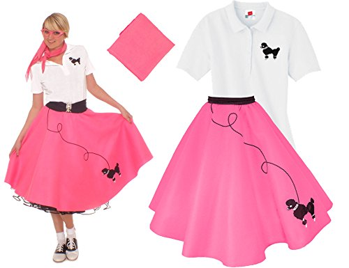 [Hip Hop 50s Shop Adult 3 Piece Poodle Skirt Costume Set Hot Pink Medium] (Fifties Outfit)