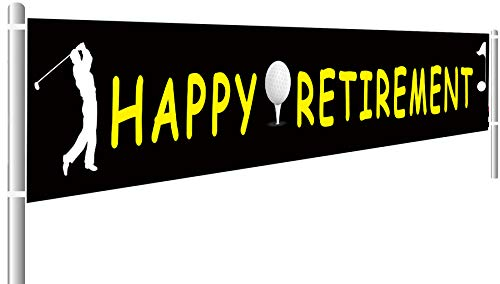 Colormoon Happy Retirement Banner | Black Gold Retirement Party Supplies | Golf Banner for Retirement Theme Party Decoration | Outdoor Indoor (9.8 x 1.5 -