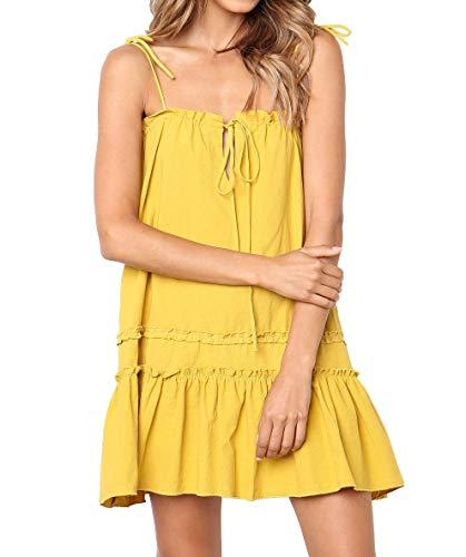 Huaxiafan Womens Casual Strap A Line Swing Beach Sundress Ruffle Summer Mini Dress
