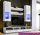Gorgeous Furniture Suite for Living Room - LED Lighted Glass Shelf behind each Partly Glazed Door - Entertainment Floor Unit - 2 Shelves (Hana 3 / WBB)