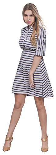 [Marycrafts Womens Casual Vintage 1980s Striped Flared Short Dress 20 Striped 14] (1980s Dress)