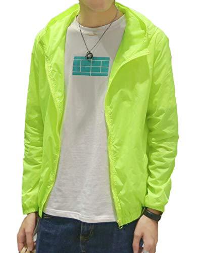 KLJR Men Windbreaker Sunscreen Slim Fit Hooded Full Zip Lightweight Jacket Coat