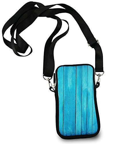 Cell Phone Purse Small Crossbody Bag Smartphone Wallet Phone Holder For Women Girls (sea blue Old Wooden Oak Plank Striped Woods) ()
