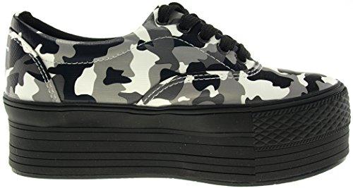 Maxstar C50, 5-Loch, Low-Top-Sneakers Freizeit Platform Boot Camo-Gray