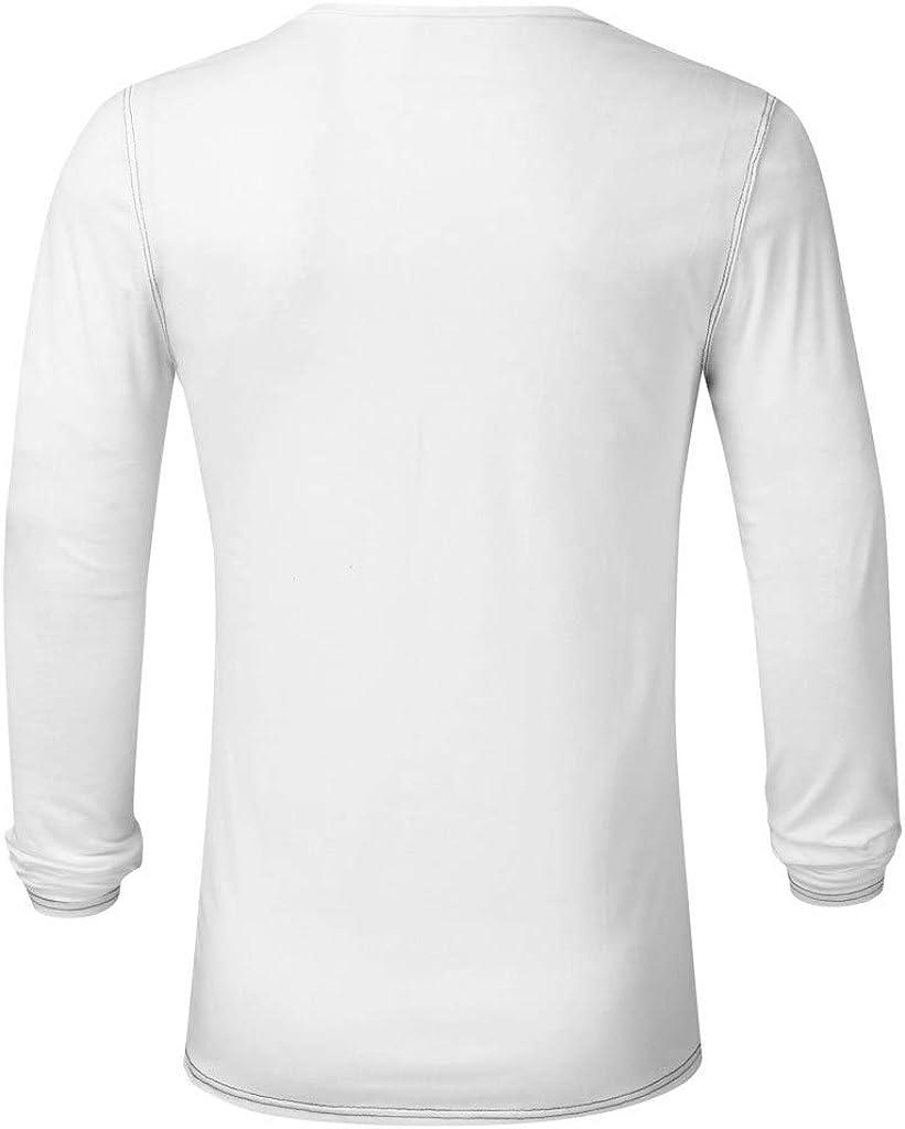 DAY8 Maglietta Camicia Uomo Manica Lunga Tinta Unita Pullover Uomo Inverno Autunno con Bottoni Magliette Uomo Maniche Lunghe Eleganti Top Moda Casual Ufficio