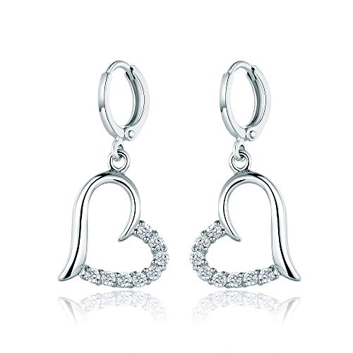 Large Studded Heart Earrings - Yves Renaud White Gold Plated Open Heart Pave Dangle Drop Earrings with Austrian Crystal - Elegant Fashion Jewelry for Women