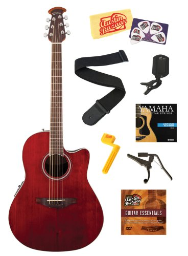 Celebrity Standard Mid-Depth Cutaway Acoustic-Electric Guitar Bundle with Strings, Strap, Tuner, Capo, String Winder, Picks, Instructional DVD, and Polishing Cloth - Ruby Red - Ovation CS24-RR