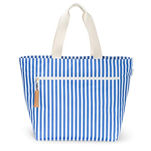 - Logan + Lenora Beach Carryall - Waterproof Beach Bag, Beach Tote (French Stripe)