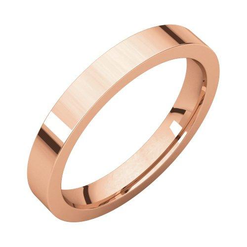 14 K Rose 3mm Flat Comfort Fit Band, 14kt Rose gold, Ring Size 5 14kt Gold Comfort Fit Band