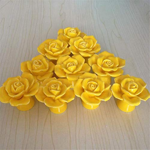 - SunKni 41mm 10Pcs Rose Flower Floral Knobs Ceramic Drawer Handles Pulls for Wardrobe Cupboard Dresser Cabinet Closet Kitchen Furniture with Free Screws New Sets Pack of 10 (Yellow)