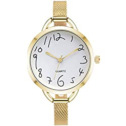 Women Quartz Watches COOKI Clearance Female Watches on Sale Cheap Lady Watches Stainless Steel Watch-H90 (Gold)
