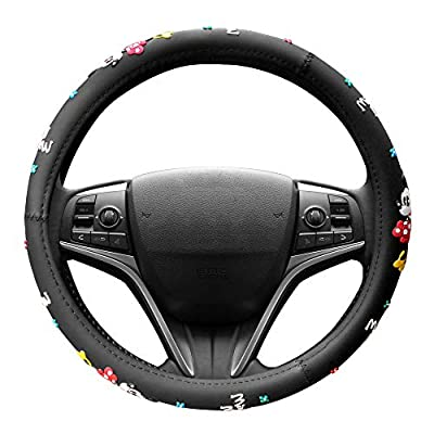 FINEX Silicone Minnie Mouse Auto Car Steering Wheel Cover - Black - Universal Fit: Automotive