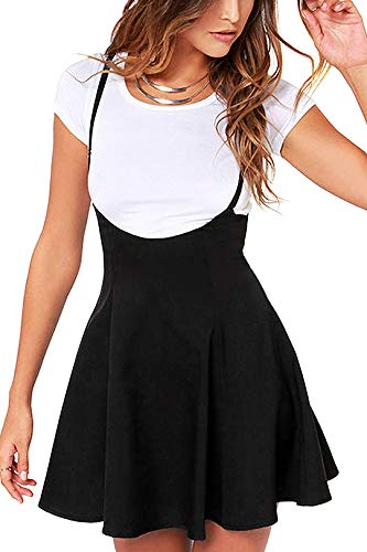 (YOINS Women's Suspender Skirts Basic High Waist Versatile Flared Skater Skirt A-Black L)