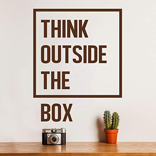 Think Outside the Box | Inspirational Life Quotes Wall Art Decal | Motivational Office Wall Decals | Removable wall sticker for Home Gym, Bedroom, Living Room, Classroom, School Dorm